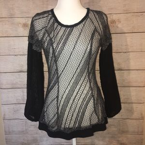 Anthropologie Ryu Fishnet and Lace Tunic Top